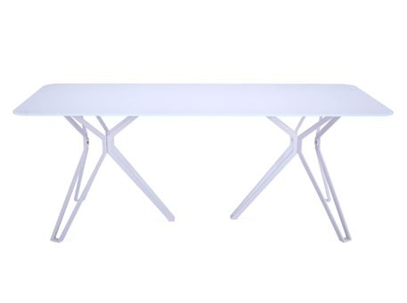 6105DT - White Metal Based Table With White Back-Painted Tempered Glass Top
