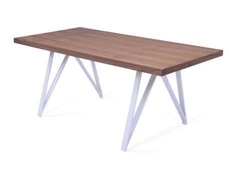 6125DT - White Metal Based Table With Walnut Wood Top