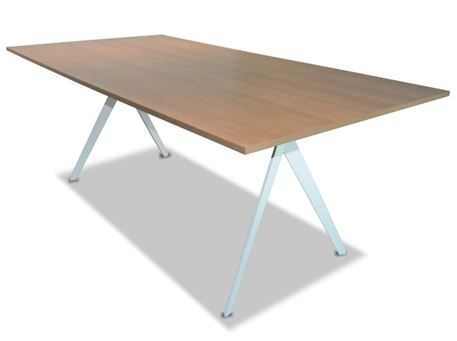 EAGLE - Walnut Meeting Table With White Metal Base