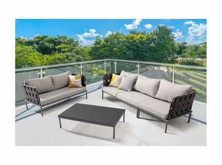 HAMPTONS - Grey Outdoor Living Set