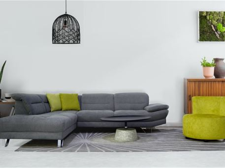 WARSAW - Modern Light Grey Fabric L-Shaped Sofa
