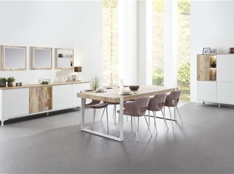 VERANO - Modern White And Oak Dining Room Set, Table With Extension