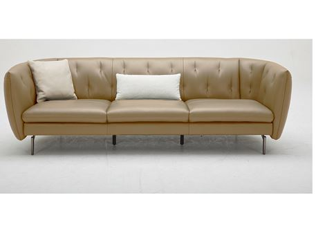 VANCE - Genuine Leather Camel Sofa With Purple Velvet Cushions