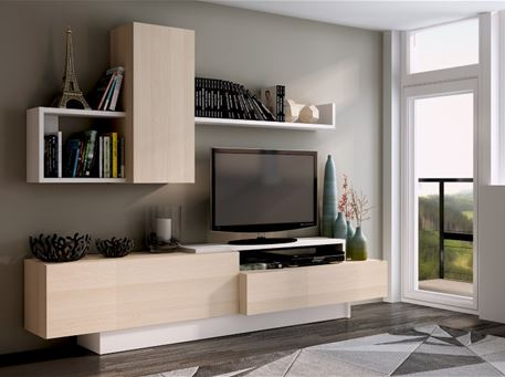 COSMIT - Beige And White TV Cabinet