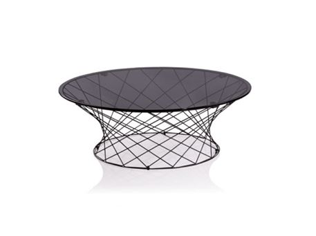 LC-026 - Black Metal Base With Glass Top Center Table