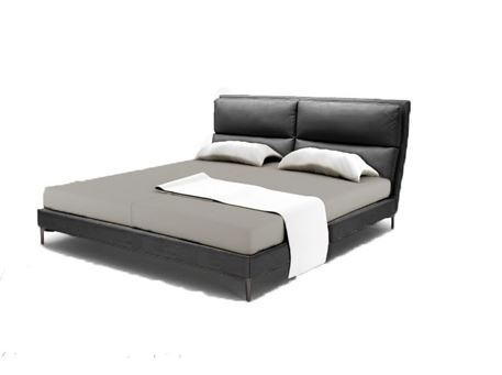 WINSTON - Dark Grey Genuine Leather King Size Bed
