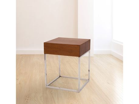 123 - Walnut With Stainless Steel Square Side Table