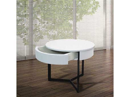 175B - Round White Side Table With Drawer