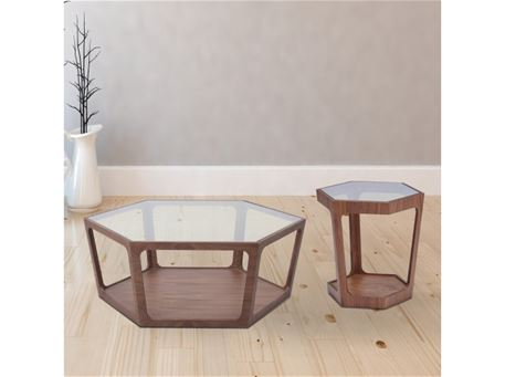 222 - Hexagon Shaped Wood And Glass Center Table
