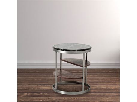 358 - Round Side Table With Black Marble Top