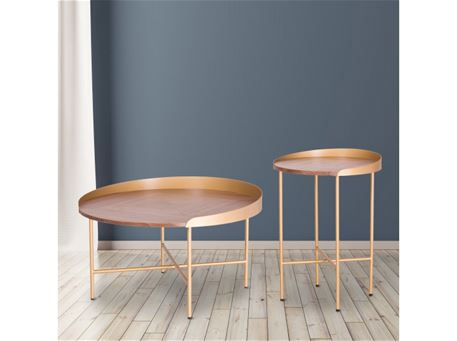 508 + 508B - Round Center And Side Walnut + Gold Painted Metal Frame Tables