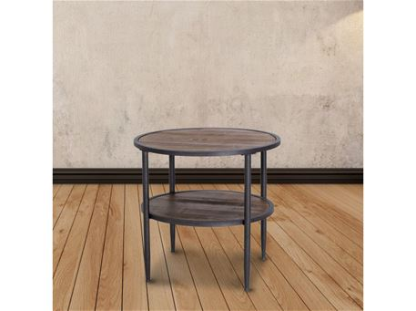 6028B - Round Dark Walnut Side Table