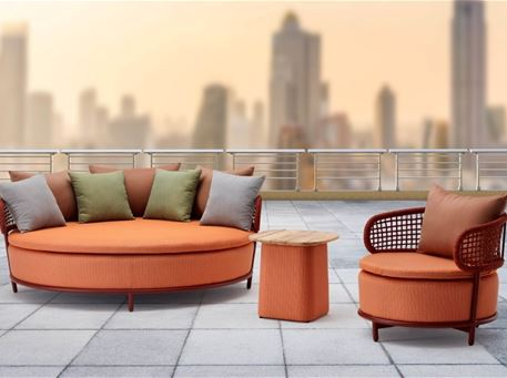 VATNA - Round Outdoor Daybed With Armchairs