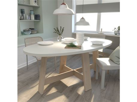 TESSA - Dining Table, Natural And White
