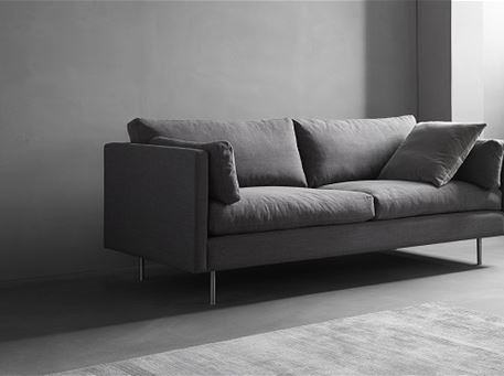 NOVA - Modern Simple Grey Sofa With Dark Grey Cushions