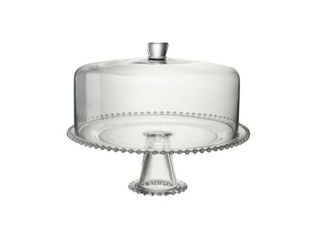 75438 - Glass Cake Dish With Round Bell Cover
