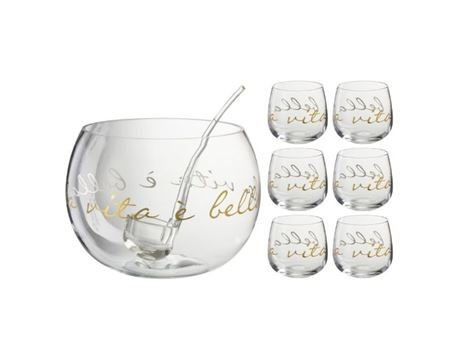 84478 - Punchbowl+Spoon La Vita E Bella Glass Transparent/Gold
