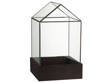 83746 - Glass Bell House With Wooden Base