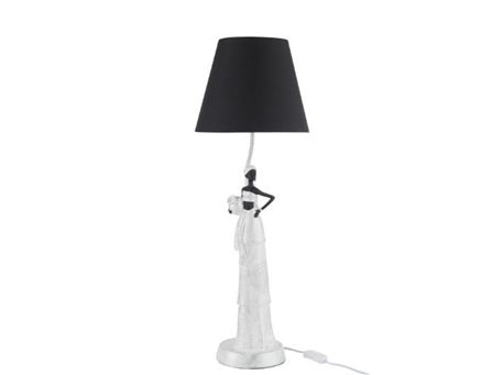 86435 - Lamp African Woman Boho Poly White/Silver