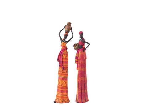 90559 - Orange And Pink African Woman Figurine