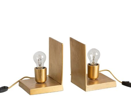 93227 - Golden Metal Book End With Light Bulbs