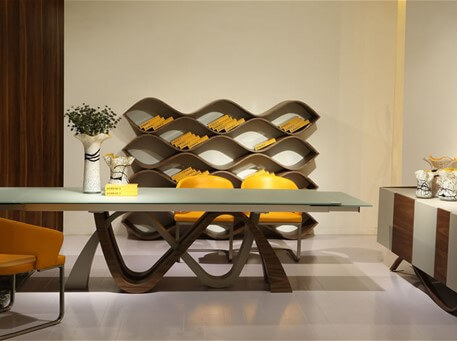 CHASE - Walnut & Glass Table With Extensions Dining Set
