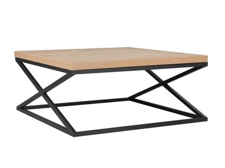ESTA - Natural Wood Color Coffee & Side Table With Metal Legs