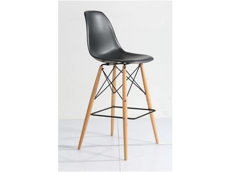 231A(B) - Black Bar Stool With Natural wood Legs