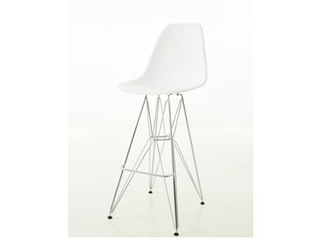 231Z - White Bar Stool With Chrome Legs