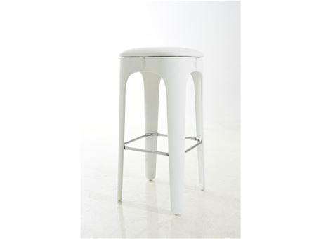 S075V - White Leather Bar Stool With Chrome Footrest