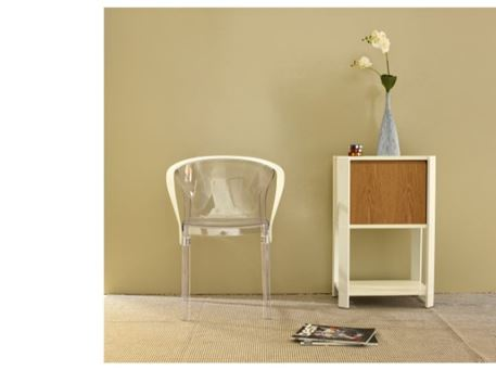 PC-838 - Clear And White Frame Dining Chair