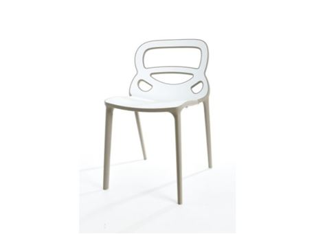 PP-S086 - White And Black Frame Dining Chair