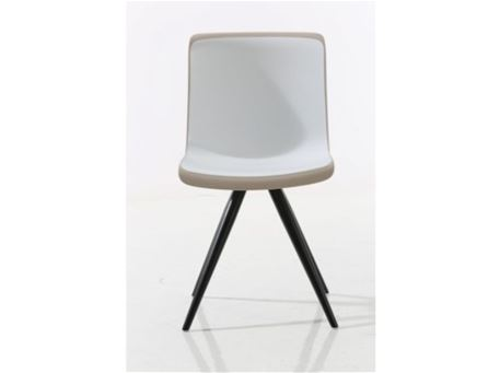 S079C - White And Taupe Dining Chair With Black Metal
