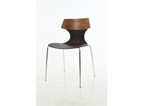 S083A - Natural & Black Wood Dining Chair
