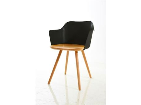 S097 - Natural & Black Wood Dining Chair