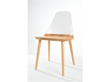 S123 - White And Natural Wood Dining Chair