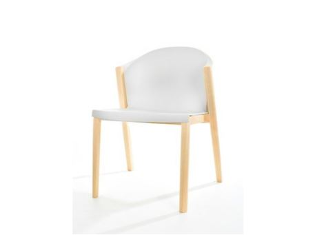 S137A - White And Natural Wood Dining Chair