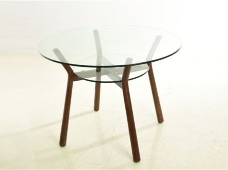 RT-S142 - Clear Glass Top With Natural Wood Legs