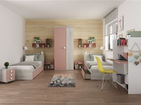 JAZZ-PINK - Modern Compact Single Bedroom Set