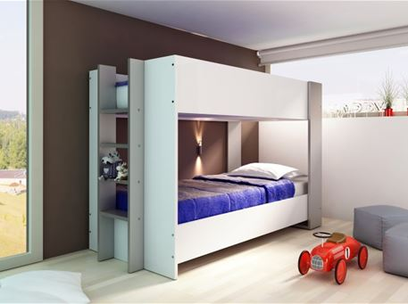 HAPPY - Simple White & Grey Bunkbed For Kids