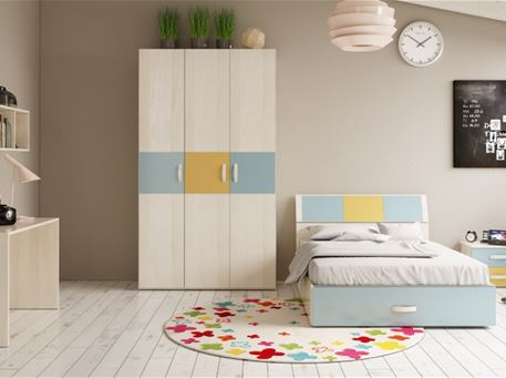 DANTE-BLUE - Blue Single Bedroom Set