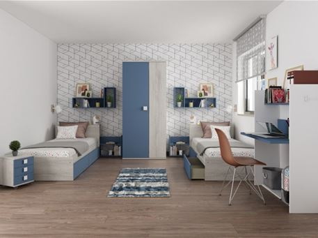 JAZZ-BLUE - Modern Compact Single Bedroom Set