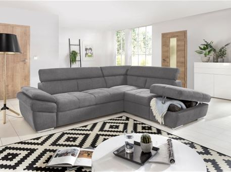 ANGIE - Contemporary Grey Fabric L-Shaped Sofa