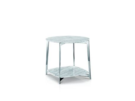 LC-033-2 - White Marble Top Side Table