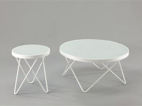 Basiola - White Round Coffee & Side Table With Tempered Glass Top