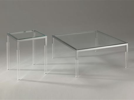 FANTINI - Square Center Table With Glass Top & Acrylic Legs.