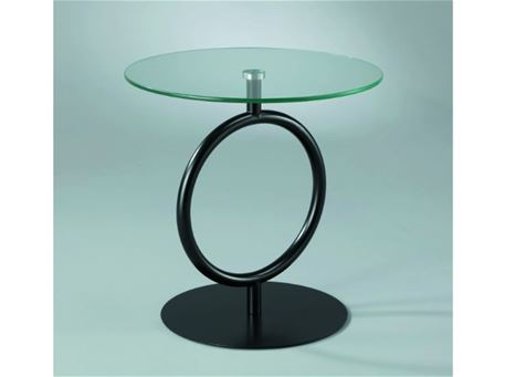 Vaccarini - Round Side Table With Clear Tempered Glass Top