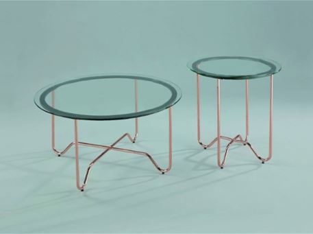 TRATTORIA - Round Side Table With Clear Tempered Glass Top