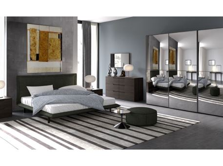 VEGA - Queen Size Master Bedroom Set With Light Grey Leather Headboard Bed