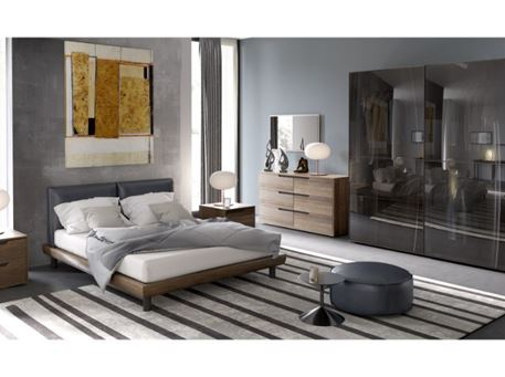 ORIONE - Queen Size Master Bedroom Set With Dark Grey Leather Headboard Bed